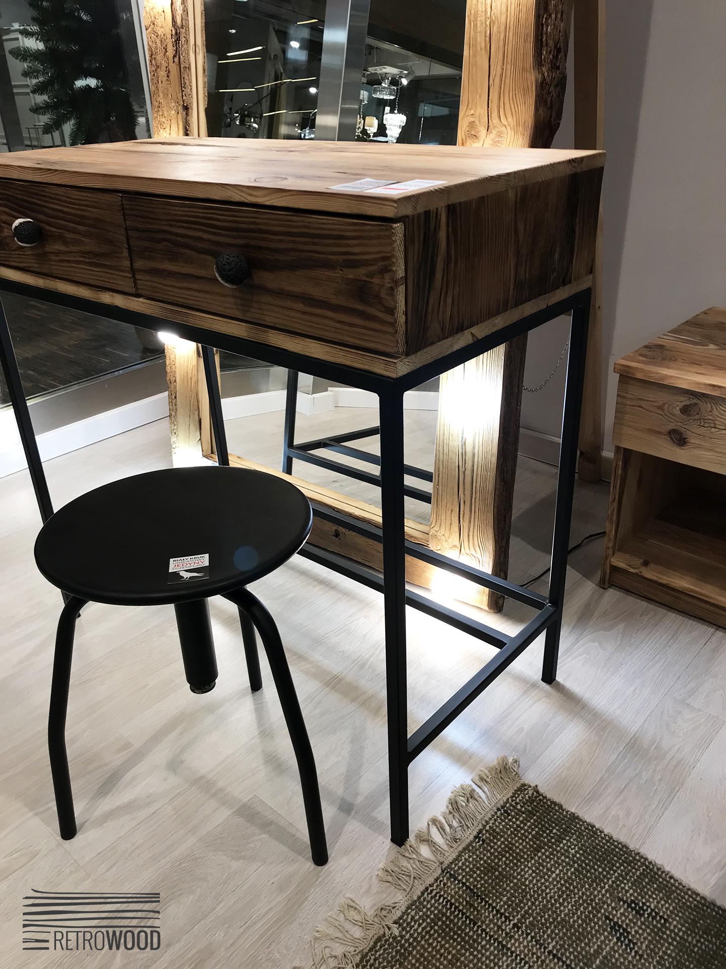 Toaletka Drewniana Ze Starego Drewna Stalowa Podstawa