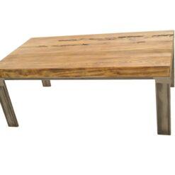 Ciekawa podstawa z połączonych ze sobą stalowych prętów tworzy piękny mebel z elementami starego, wiekowego drewna. Unikatowy wyrób z naszej manufaktury.