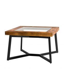 Stolik kawowy ze starego drewna, stali i szklanej tafli wkomponowanej w blat - Retrowood
