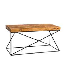 Stolik kawowy ze starego drewna i stalowej podstawy - Retrowood