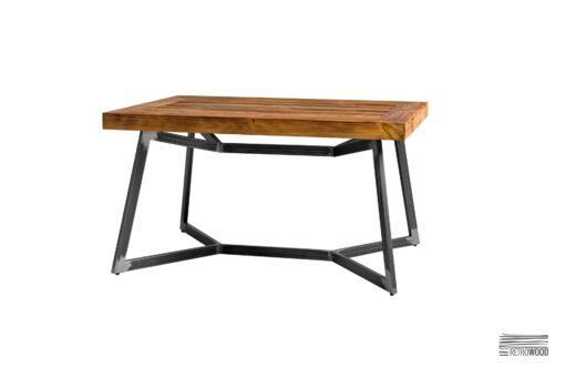 Stolik kawowy wykonany ze starego drewna sosnowego i stali - Retrowood