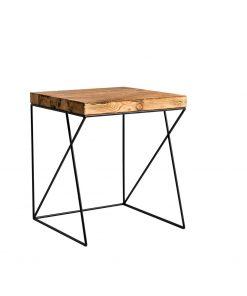 Stolik kawowy ze starego drewna i podstawy wykonanej ze stalowych prętów - Retrowood