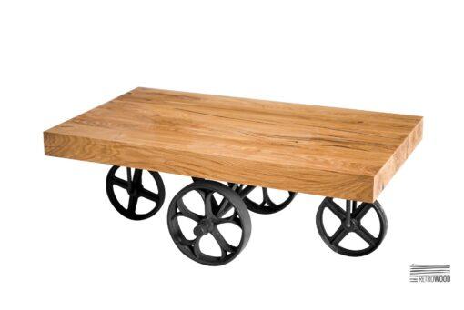 Stolik kawowy z blatem z drewna dębowego - Retrowood
