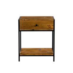 Szafka łazienkowa wykonana ze starego drewna sosnowego. Z szufladąi półką w podstawie wykonanej ze stali w kolorze czarnym.